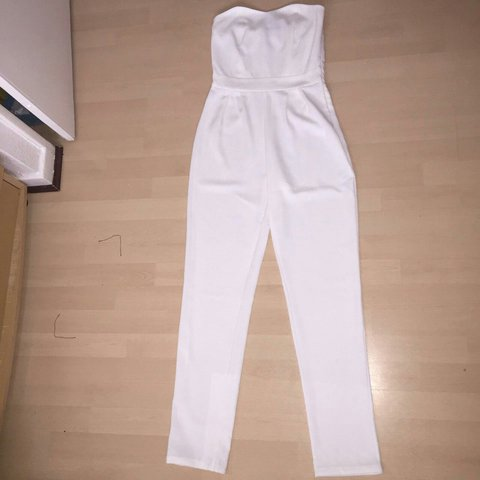 a78bec95f32 White strapless jumpsuit Very flattering - Depop