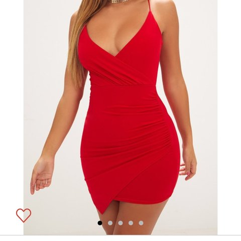 7012691e0df Selling this pretty little thing red slinky wrap dress. Size - Depop