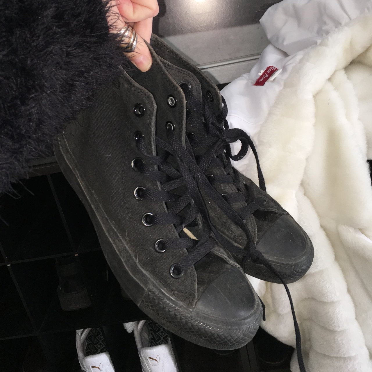 56bf2d7b3694 Black high top converse Size UK 4 Worn 3 times max but in - Depop
