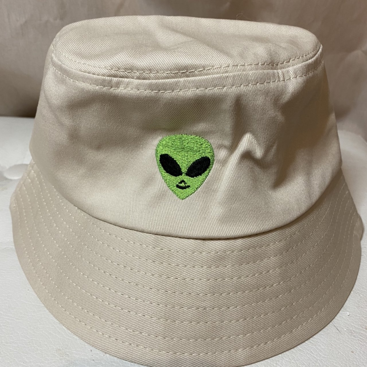 Alien Embroidery Bucket Hat Beige Casual 100 Depop