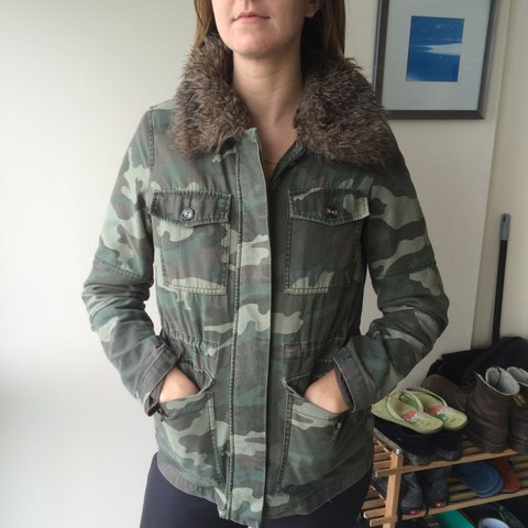 848fe36dea47d @tallymctallface. last year. Newquay, United Kingdom. REDUCED TO £8. Topshop  Camouflage Faux Fur Lined Jacket Size ...