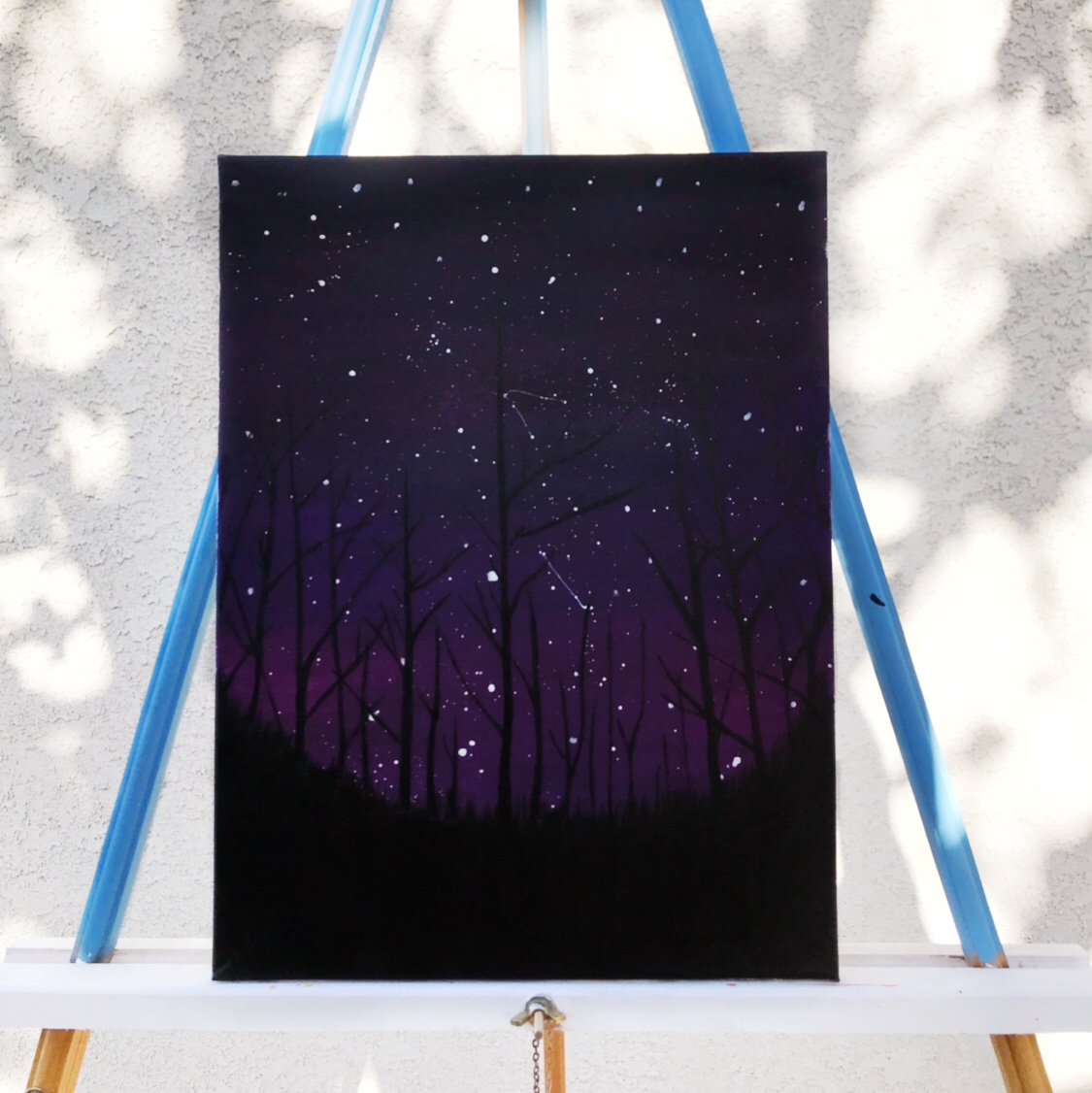 Purple Sunset Forest Acrylic Painting On Canvas Depop
