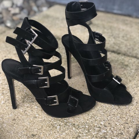 5343cfb7004 ASOS black strappy sandals RRP £40 Size 5 Worn once - Depop