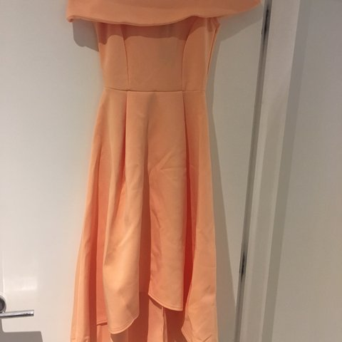 f318efcc2ca8 @shirineb. 7 months ago. Manchester, United Kingdom. Boohoo Apricot Off The  Shoulder Size 8 - Apricot Dress Off The Shoulder Dip Hem Skater!
