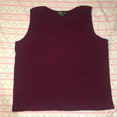 1fefac873478b Dark pink 90s tank top that's stretchy and would look great - Depop