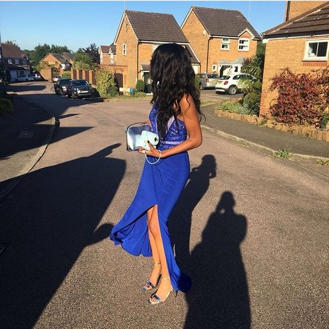e0e821b9b4b BLUE PROM DRESS thrifted for my prom but is in a perfect is - Depop