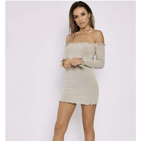 8b727c29e882 @char_keeble. 10 months ago. Ipswich, United Kingdom. RESERVED DO NOT BUY! Sarah  Ashcroft x In The Style, Stone Ribbed Ruffle Long Sleeve Bardot Dress ...