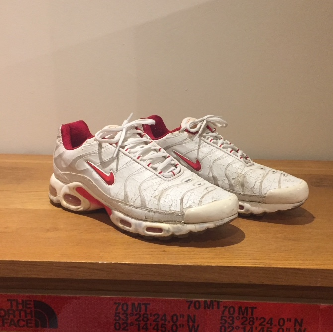 new product 726a9 1fcfd nike air max tn white and red colourway size uk... - Depop
