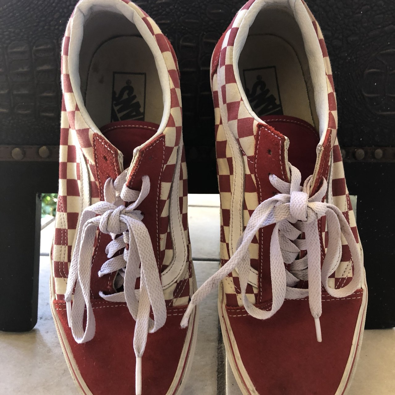 697b1720f59e50 Red checkered low top vans. Had them for 2months Worn in a - Depop