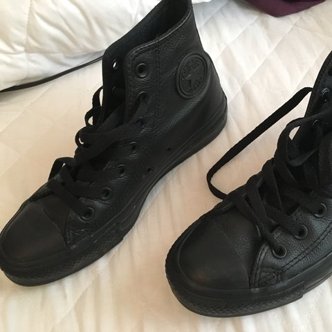 Black leather Converse high top trainers RRP £60. Literally - Depop 07bc5e726