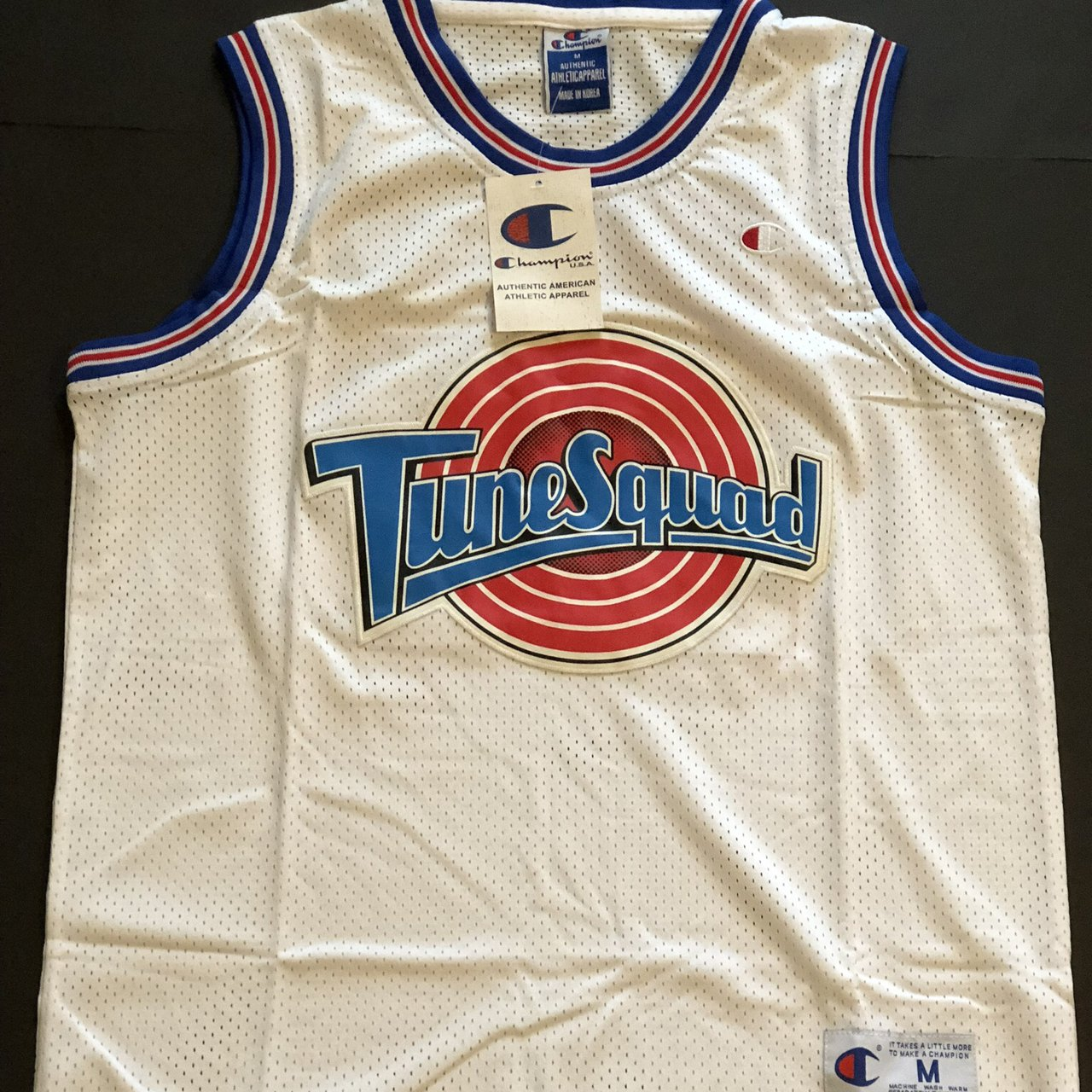 """79c5a1c4e05 @throwedthreads. last year. Dallas, United States. A brand new Michael  Jordan jersey. Tune Squad from the movie """"Space Jam"""". Stitched and authentic ."""