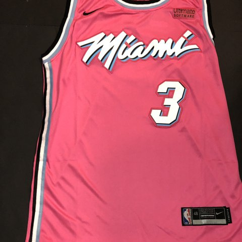 cb2bf6b46c4 @throwedthreads. 2 months ago. Grand Prairie, United States. NWT #3 Wade Miami  Heat Pink Miami Vice Jersey size ...