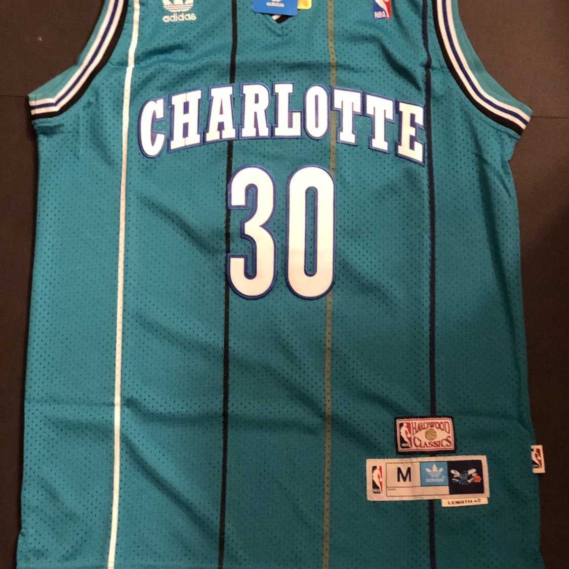 new style d17dc 071b9 A Dell Curry #30 Teal Charlotte Hornets Jersey.... - Depop