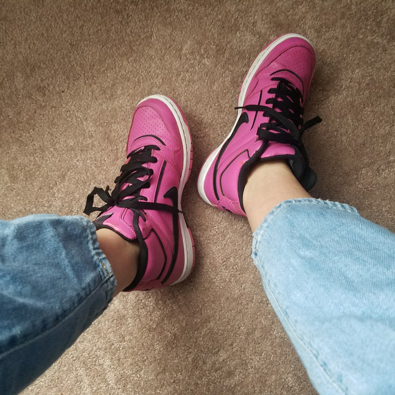 c9d78db128b1e4 Pink and Black Nike Prestige High Tops Thrifted these years - Depop