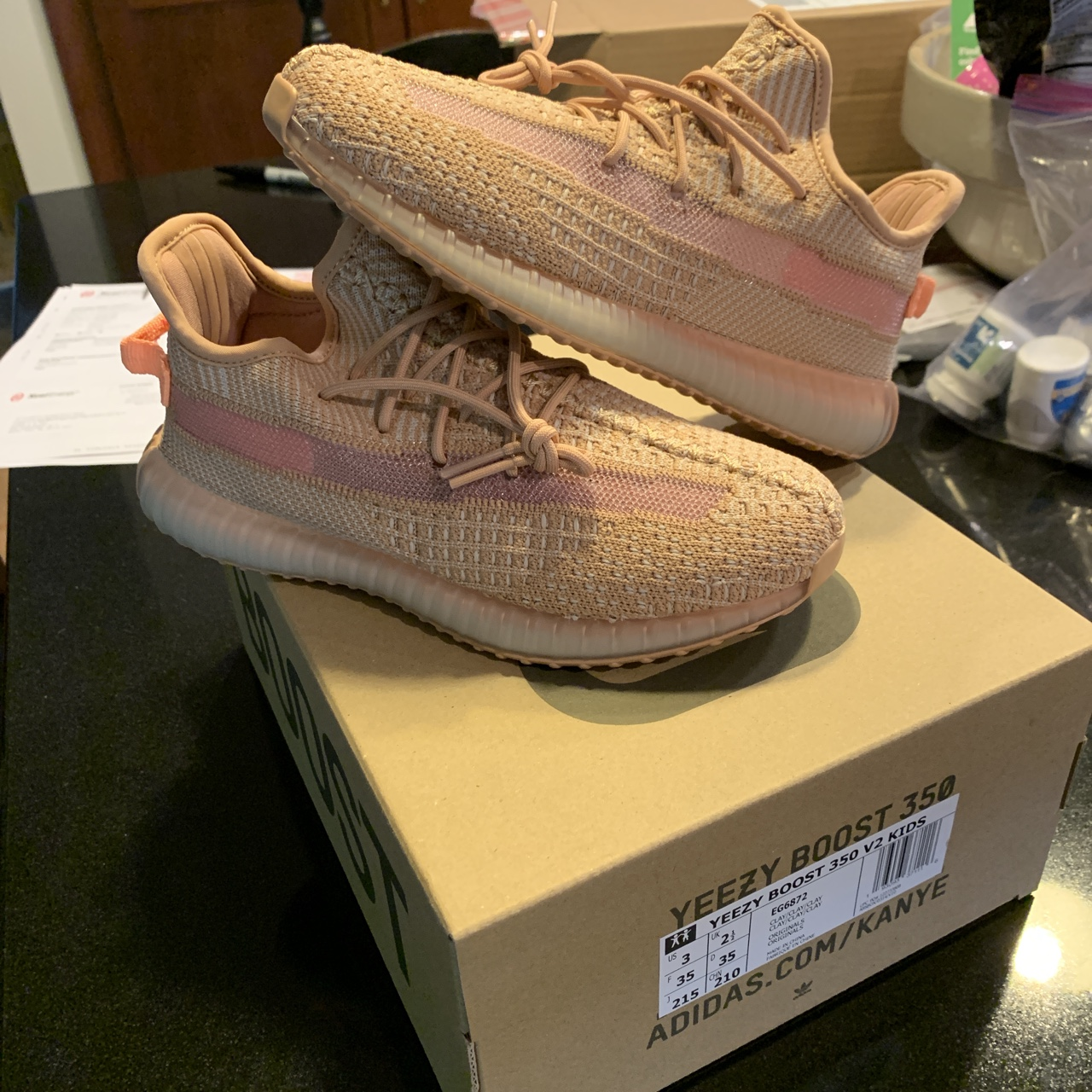 wholesale dealer 3e576 eaee6 Yeezy Boost 350 V2 Clay Kids (PS) size 3 - Depop