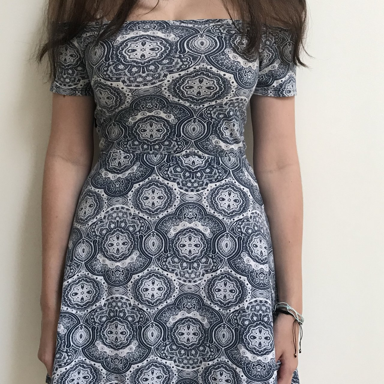 6fd647b6179bc7 Pretty Topshop Motel off-the-shoulder dress. Bohemian print