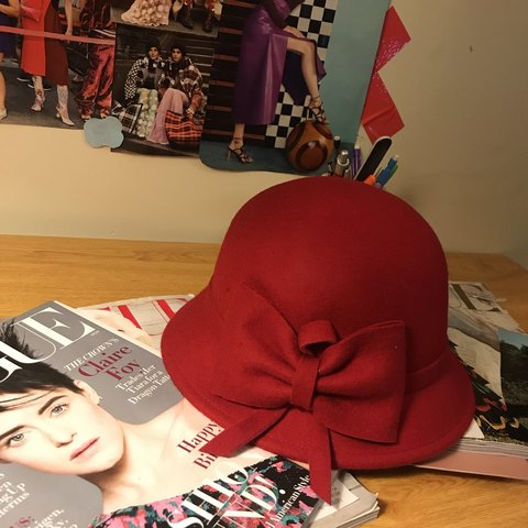 55faa503c52d2  perfectcircles. 6 months ago. United States. Red wool bucket hat with  adjustable string.