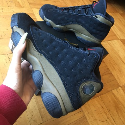 5b6b87f2341537 black and olive jordan 13s 10 10 condition worn 2x with   - Depop