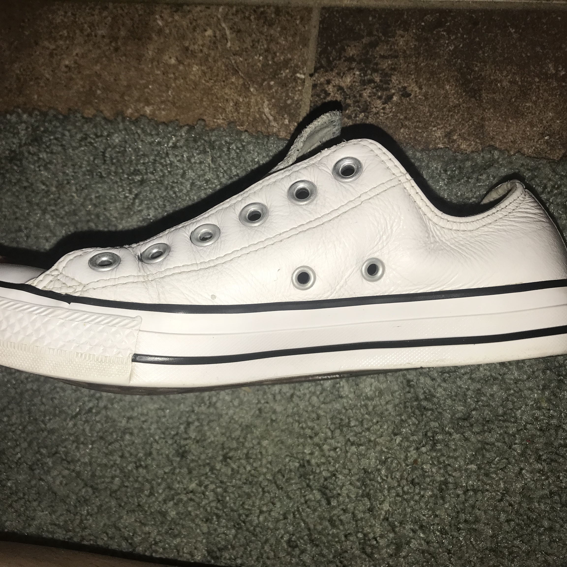 Converse white leather shoes ! Has some wear to Depop