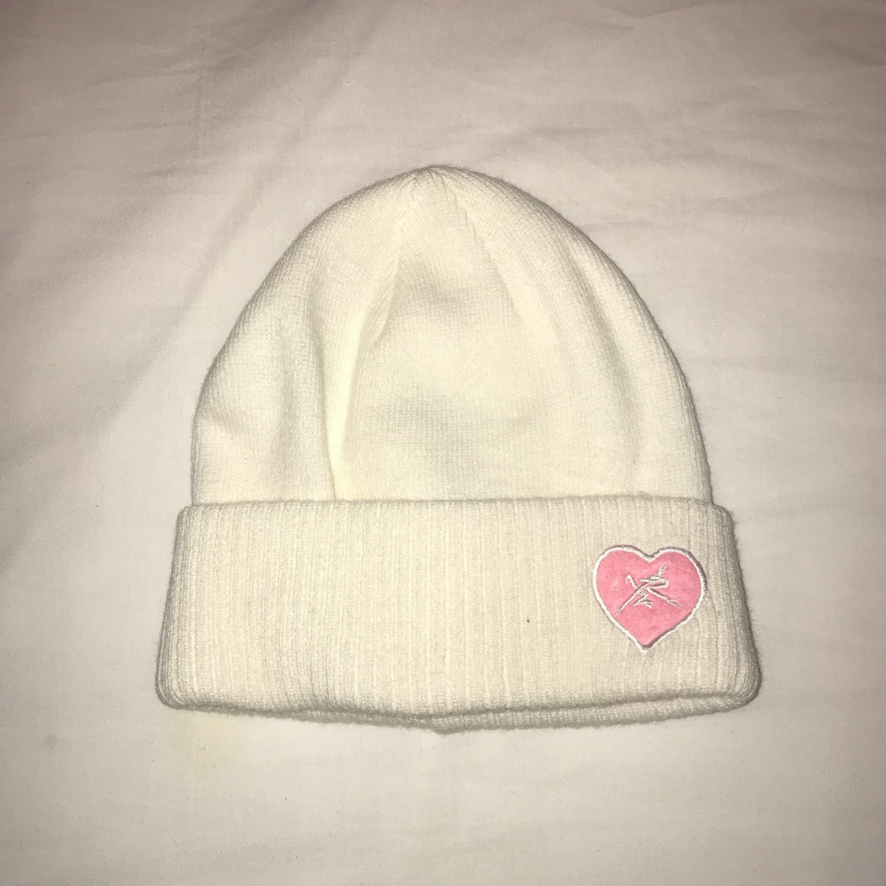 white young   reckless beanie with pink heart decal logo - Depop 1831fb03974