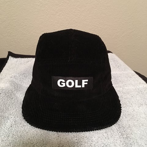20f84ae0dcf27 GOLF WANG black 5 panel corduroy camp cap. Purchased from in - Depop