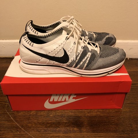 "755f9cc16cd58 Nike Flyknit Trainer White Size 13US Kanye West ""YeKnit"" box - Depop"