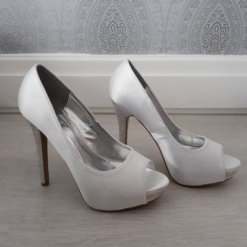 3a40059f7cf White satin shoes with diamante heels. Size 6. Never worn. - Depop