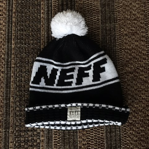 e4a849b006a NEFF tailgate Pom beanie Black and white  headgear - Depop
