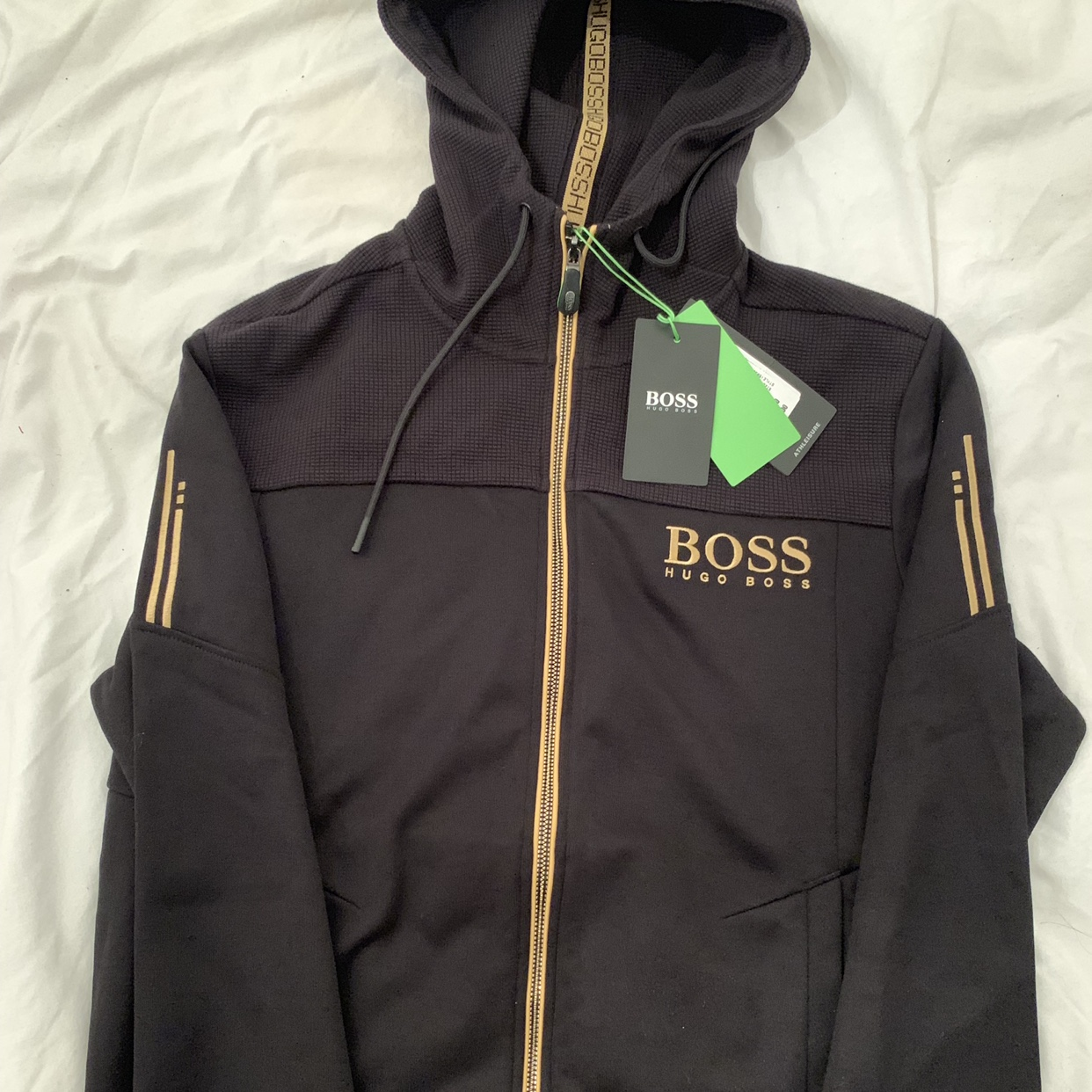 really cheap on feet images of exclusive deals Hugo boss black and gold hoodie. Any more info just... - Depop
