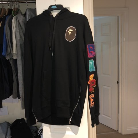 d6c4dd860 Black bape hoodie, with bape arm print, only worn once, got - Depop