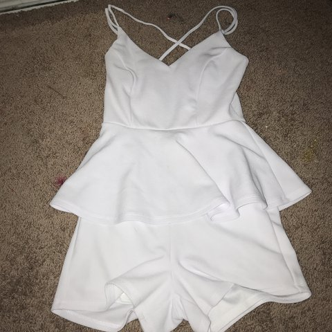 d3f1ccaeb920 white charlotte russe romper xs very comfortable and  cheap - Depop
