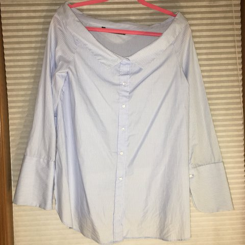 5f31a374 @lclifestyld. last year. Rochester, United States. Zara off the shoulder  striped button-up blouse
