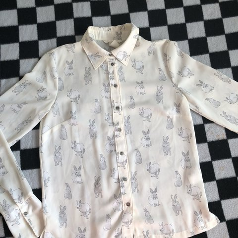 cedfd73f746 sheer h m bunny blouse! small stain on the front. - Depop