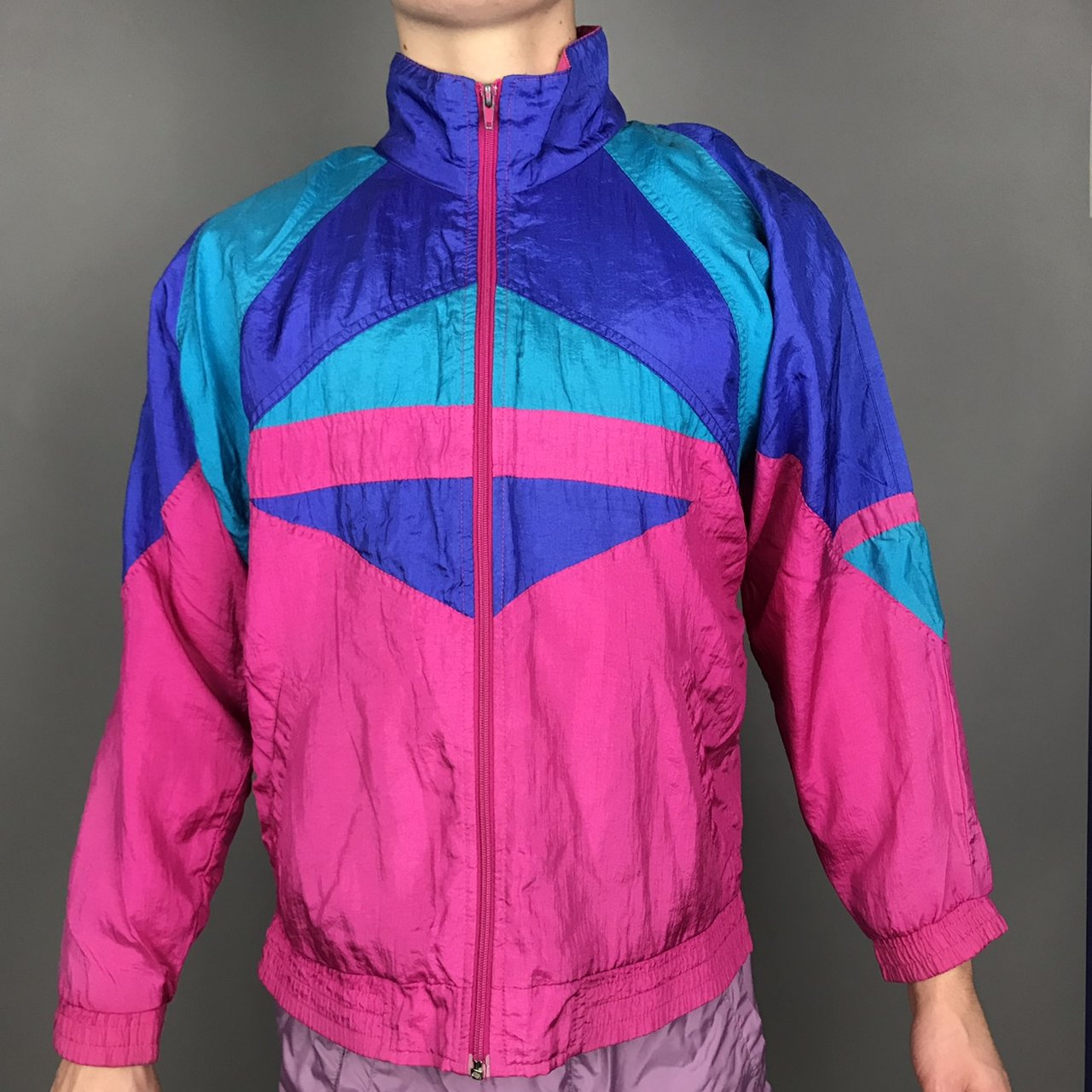 0c7abc832d Vintage 90s colorful Windbreaker size small. In excellent I - Depop