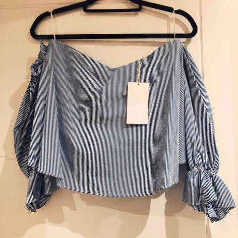 1b924cc0ec052 Brand new with tags sold out Zara blue and white cropped top - Depop