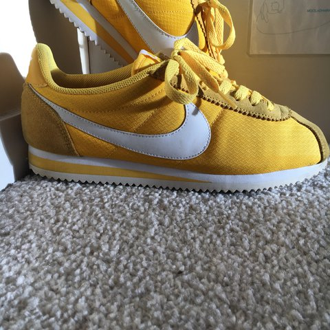 the latest 37f50 e53d7  natmurray25. last year. Rugby, United Kingdom. Nike Cortez - Yellow Maize  White