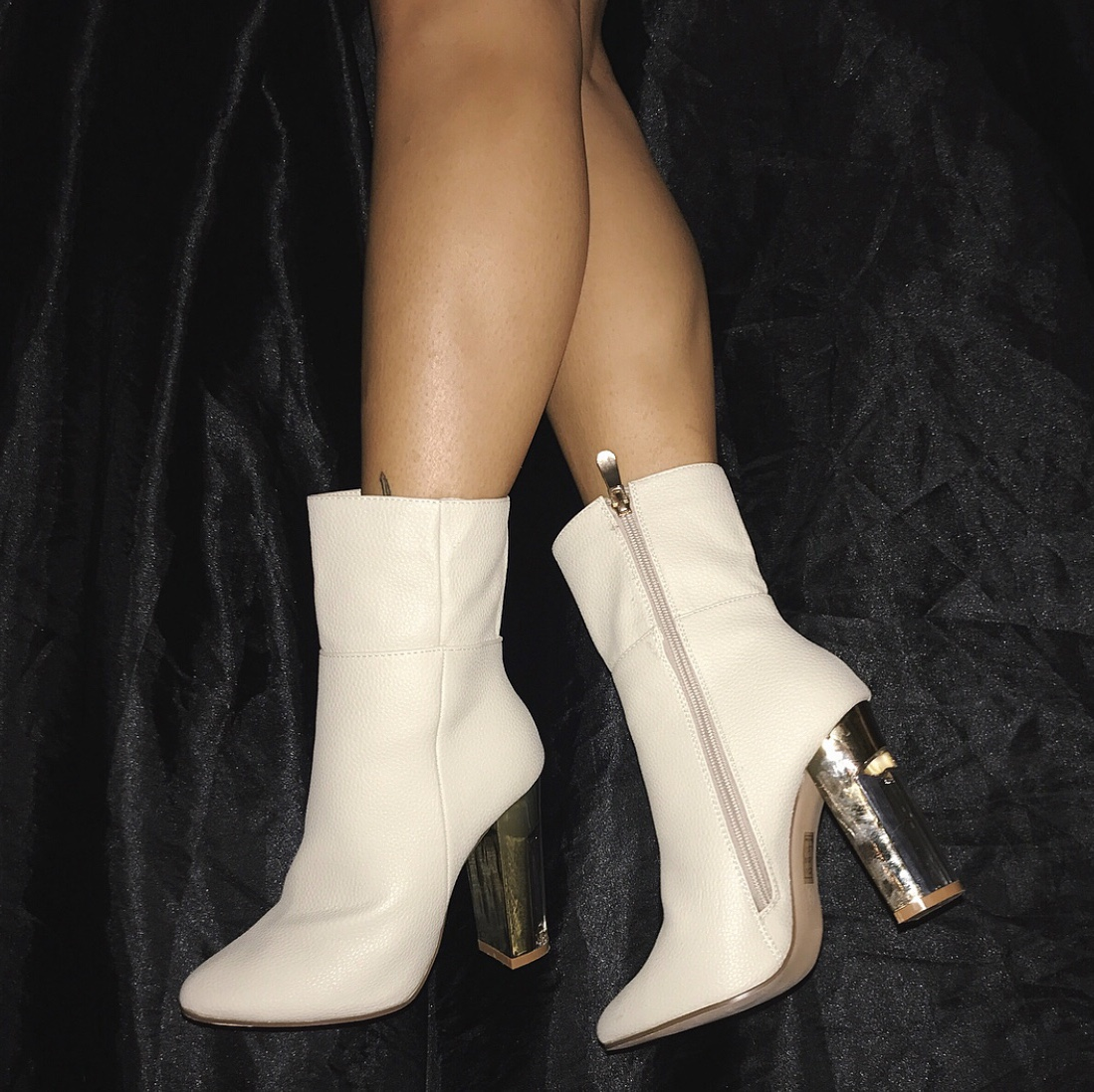 White/Cream Leather ankle boots with a