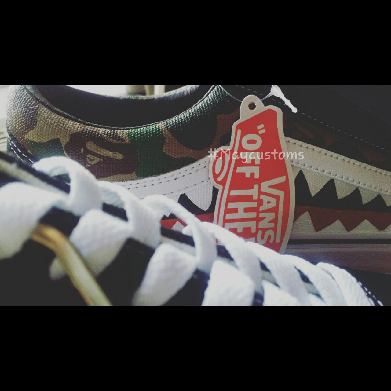 a926ed77467 Vans x Bape custom shark teeth + Bape Camo old skool. item - Depop