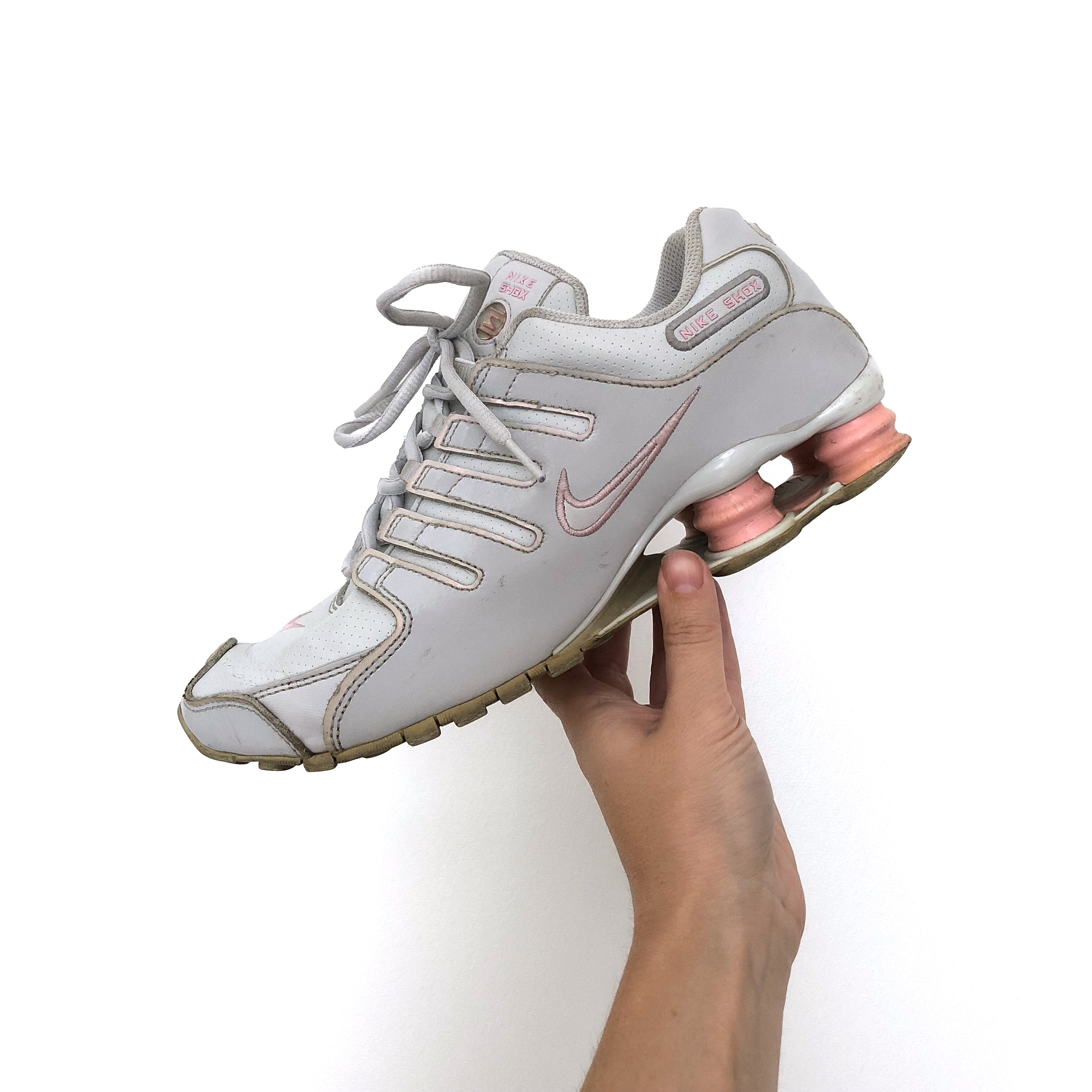 grey and pink Nike shox NZ sneakers