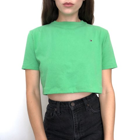 dac27f6bbfcad Classic lime green TOMMY HILFIGER crop top tee 💚💚💚 Size - Depop