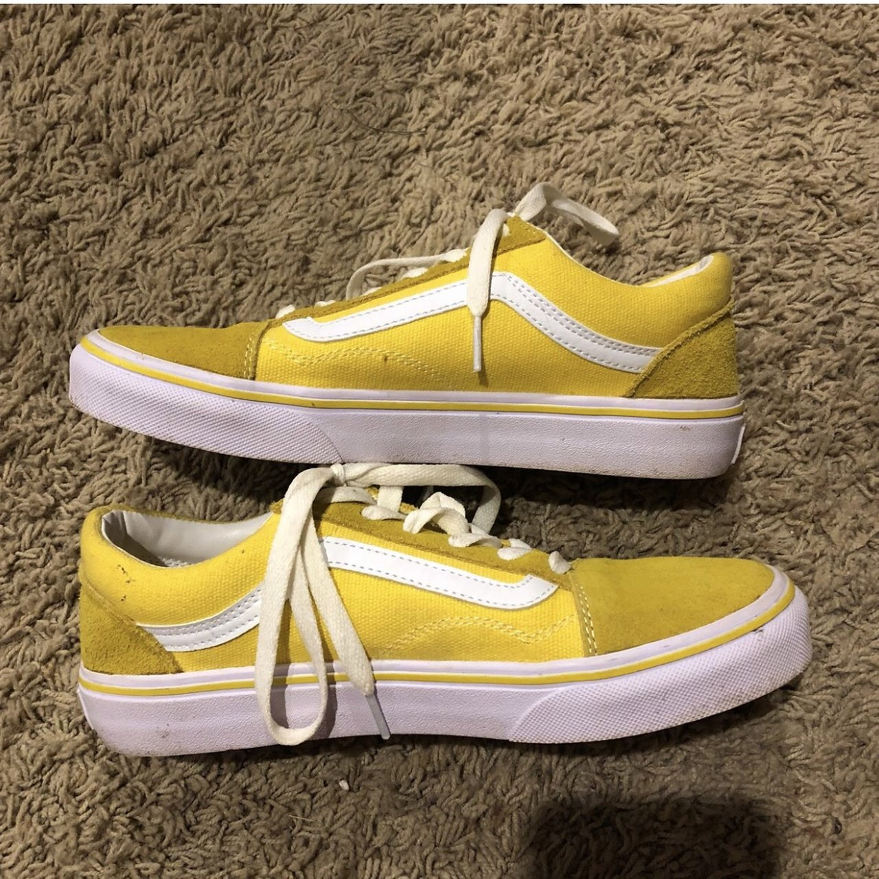 8eccd39653b Leather yellow vans old skool low. Size 3.5 but will fit a - Depop