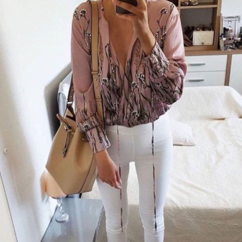 26541e8cc8 Zara satin floral pastel pink and green bodysuit with tie - Depop