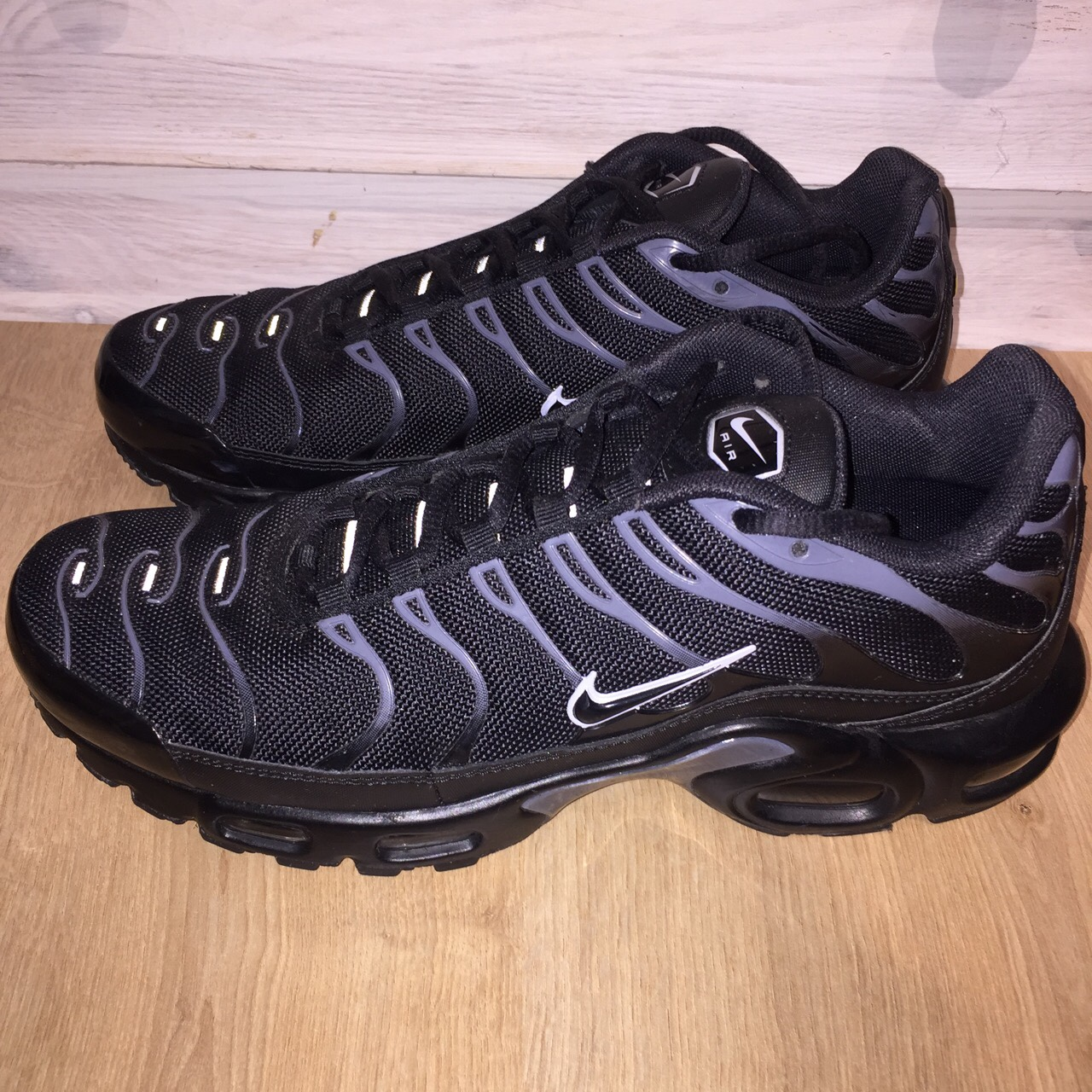 reputable site a20fe f5592 Nike Air Max Plus TN/Tuned 1 Black/Pure... - Depop