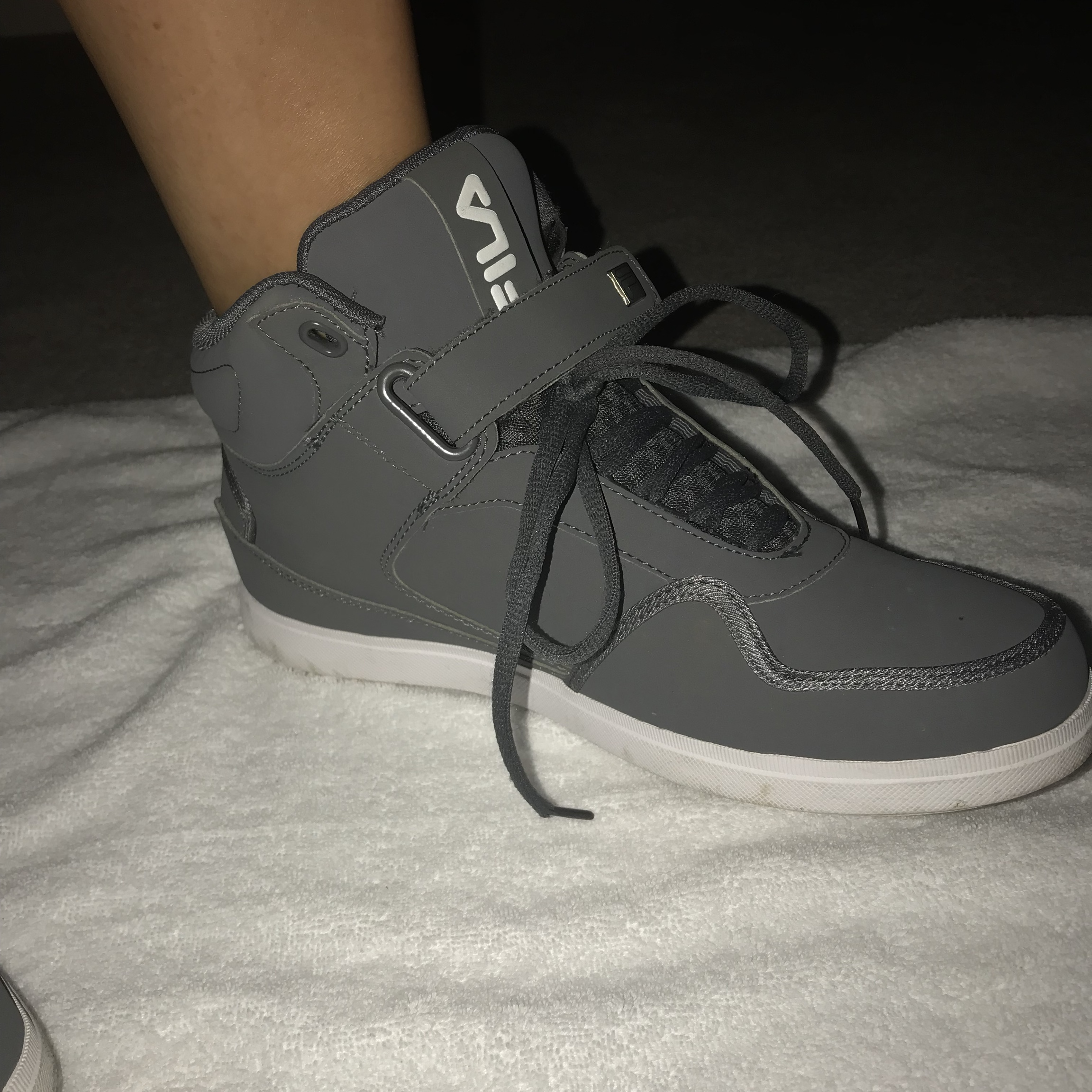 Fila grey high tops with strap and