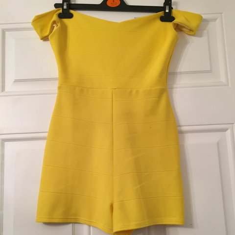 d6b80814da Boohoo yellow off the shoulder playsuit size 8. Brand new - Depop