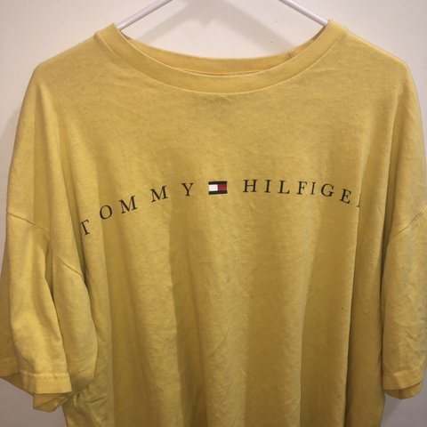f28a135f7 @layneewoodall. 12 days ago. Easley, United States. Vintage Oversized Yellow  Tommy Hilfiger T shirt