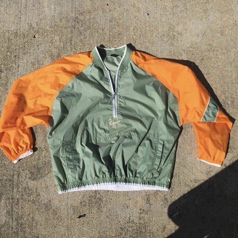 1b643f1121 Vintage Green Orange Nike Windbreaker. Size XXL. - Depop
