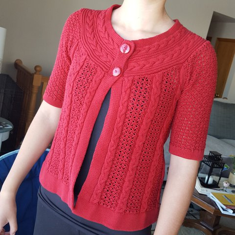5347ad5042 Red cable knit cardigan sweater with two iridescent buttons - Depop