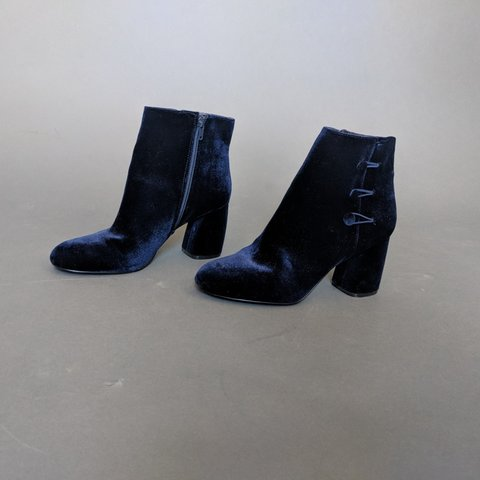 080678556ef Nine West Dark Blue Velvet boots. Size 9M. Worn once. Great - Depop