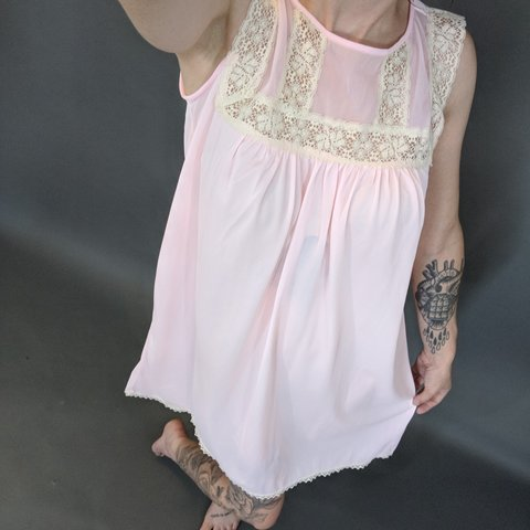 ff7c65c73 Vintage pink babydoll night gown. Paper tag is hard to read. - Depop